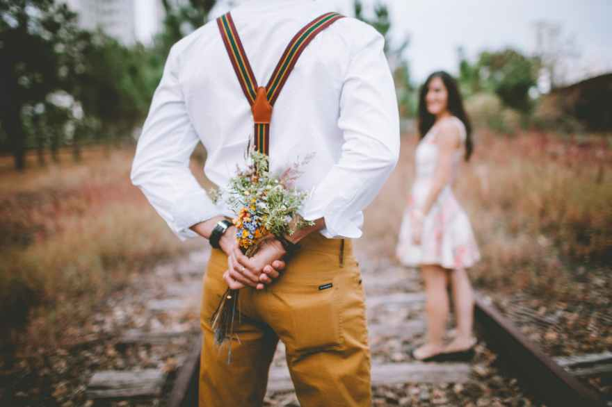 adult blur bouquet boy
